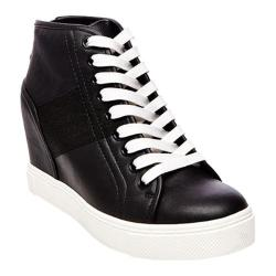 Women's Steve Madden Lussious Wedge Sneaker Black Synthetic