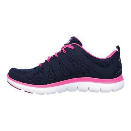 Women's Skechers Flex Appeal 2.0 Simplistic Training Shoe Navy/Hot Pink - Thumbnail 2