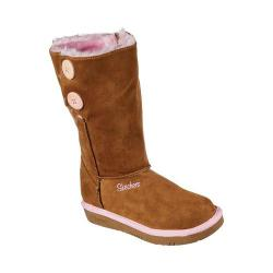 Girls' Skechers Glamslam Button Beauties Boot Chestnut/Hot Pink