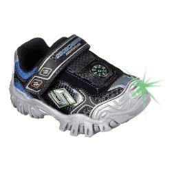 Boys' Skechers Hot Lights Damager II Adventure 2.0 Trail Sneaker Black/Silver/Royal