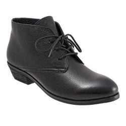 Women's SoftWalk Ramsey Lace Chukka Bootie Black Soft Mini Tumbled Leather