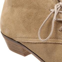 Women's SoftWalk Ramsey Lace Chukka Bootie Sand Grey Cow Suede Leather