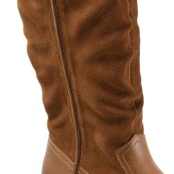 Women's SoftWalk Rock Creek Wide Calf Boot Cognac Smooth Leather/Cow Suede
