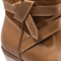 Women's SoftWalk Roper Bootie Cognac Smooth Leather/Cow Suede
