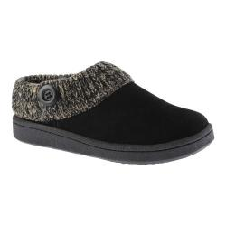 Women's Clarks Knit Collar Clog Slipper Black Leather