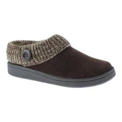 Women's Clarks Knit Collar Clog Slipper Brown Leather