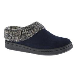 Women's Clarks Knit Collar Clog Slipper Navy Leather