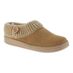 Women's Clarks Knit Collar Clog Slipper Tan Leather