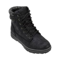 Women's Cliffs by White Mountain Karissa Double Cuffed Hiker Boot Black Distressed Textile/Sweater