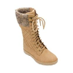 Women's Cliffs by White Mountain Karline Quilted Tall Sweater Boot Wheat Distressed Textile Fabric/Natural Sweater