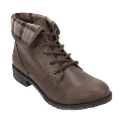 Women's Cliffs by White Mountain Neponset Cuffed Combat Boot Taupe Multi/Distressed Textile/Plaid Fabric