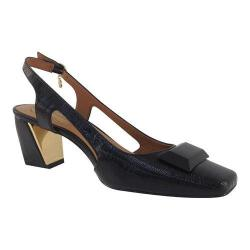 Women's J. Renee Samina Slingback Black Faux Crinkle Patent Leather