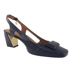 Women's J. Renee Samina Slingback Navy Faux Crinkle Patent Leather