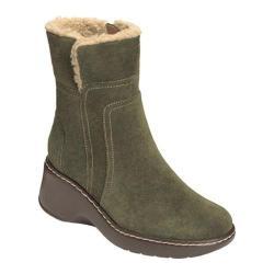 Women's Aerosoles Side-Kick Fur Collared Ankle Boot Dark Green Suede