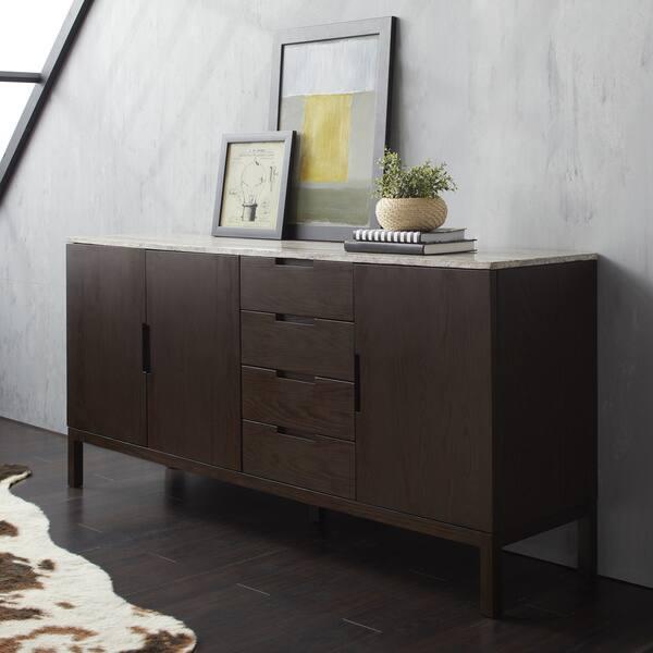 Kleine Sidetable Wit.Shop Calvin Klein Varick Stone Top Wooden Buffet Server
