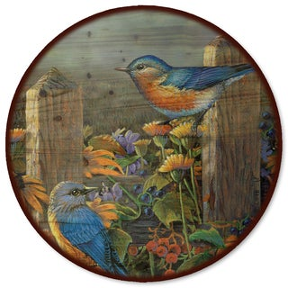 WGI Gallery 'Linda's Bluebirds' Wood Lazy Susan