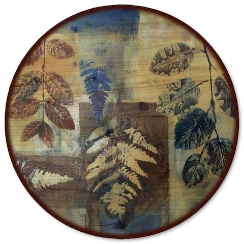 WGI Gallery Leaves in Blue Wood Lazy Susan