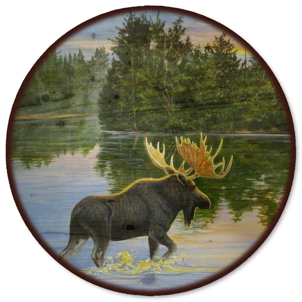 WGI Gallery Lake Moose Wooden Lazy Susan (18 inch diamete...