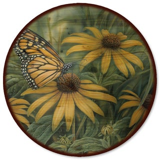 WGI Gallery Monarch Butterfly Multicolor Wood and Steel Lazy Susan