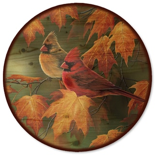 WGI Gallery Maple Leaves and Cardinals Wood Lazy Susan