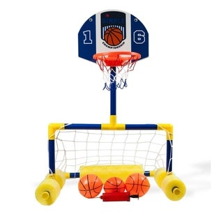 Multi-Sport Floating Reinforced Basketball and Soccer Goal Pool Set by Dimple