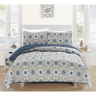 Samantha Collection 3-Piece Printed Quilt Set with Shams