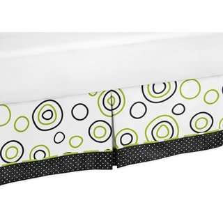 Sweet Jojo Designs Lime Green and Black Spirodot Toddler Bed Skirt