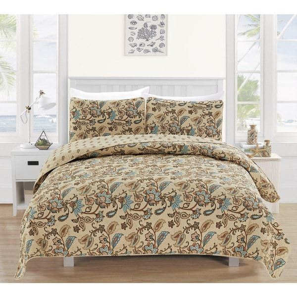 Miranda Collection 3-Piece Printed Quilt Set with Shams
