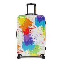 Loudmouth Luggage White Drop Cloth Multicolor 29-inch Expandable Hardside Spinner Suitcase