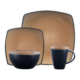 Gibson Home Soho Lounge 16 Piece Square Stoneware Dinnerware Set