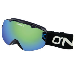SnowGoggles Large Black Green Mirror