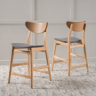 Gavin Mid-Century 24-inch Wood Counter Stool (Set of 2) by Christopher Knight Home