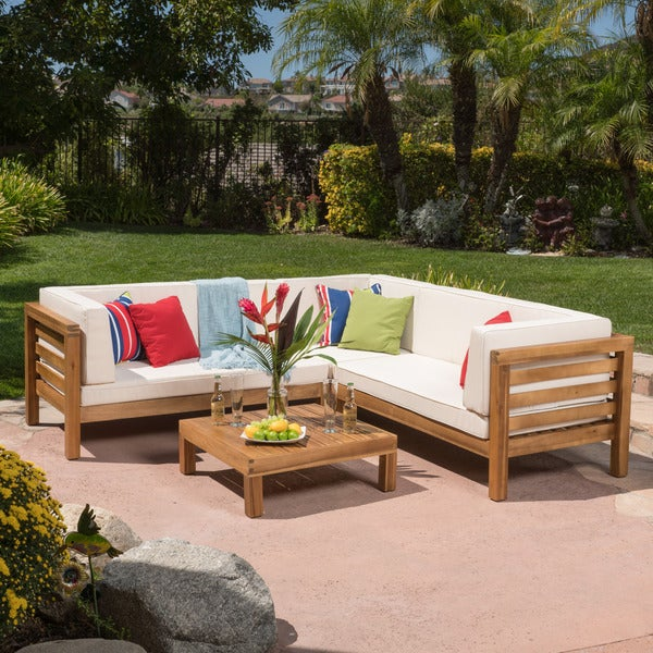 oana outdoor 4 piece acacia wood sectional sofa set with