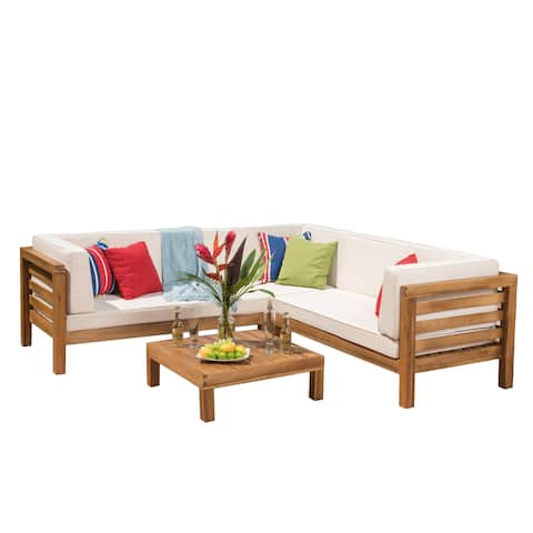 Oana Outdoor 5 Seater V Shaped Acacia Wood Sectional Sofa Set with Coffee Table by Christopher Knight Home