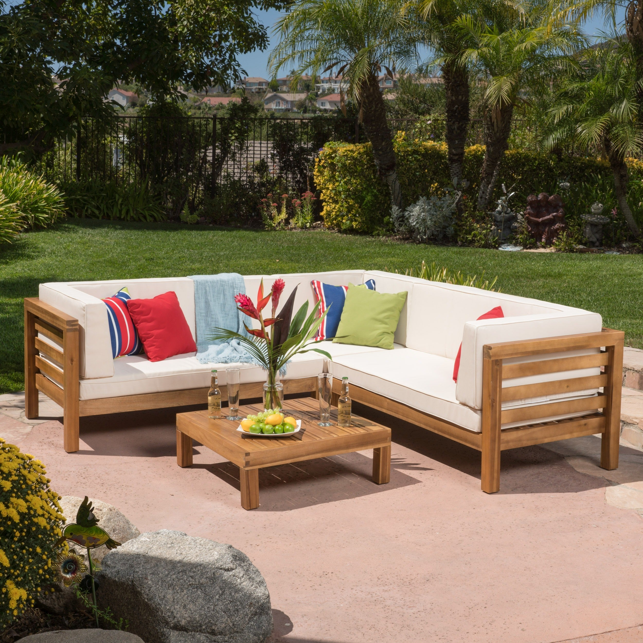 patio blue watch wood white outdoor sectional sofa with
