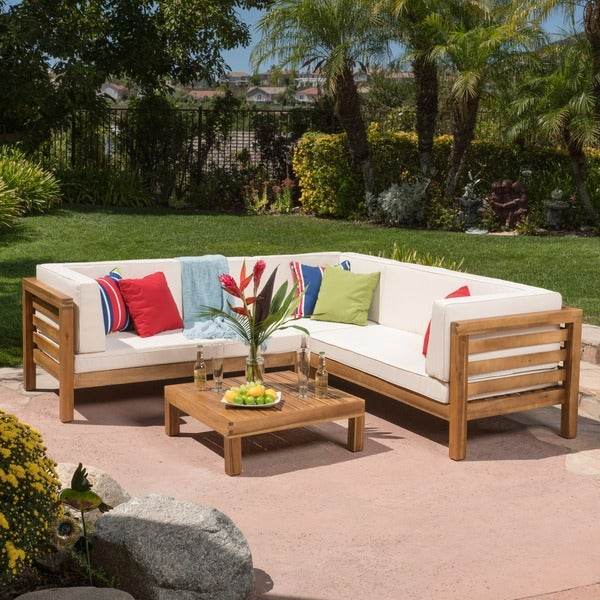Oana Outdoor 4 Piece Acacia Wood Sectional Sofa Set With Cushions By  Christopher Knight Home
