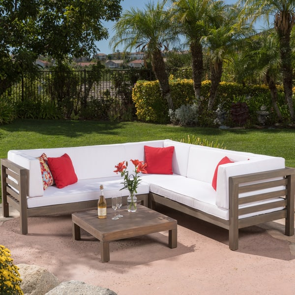 Shop Oana Outdoor 5 Seater V Shaped Acacia Wood Sectional ...