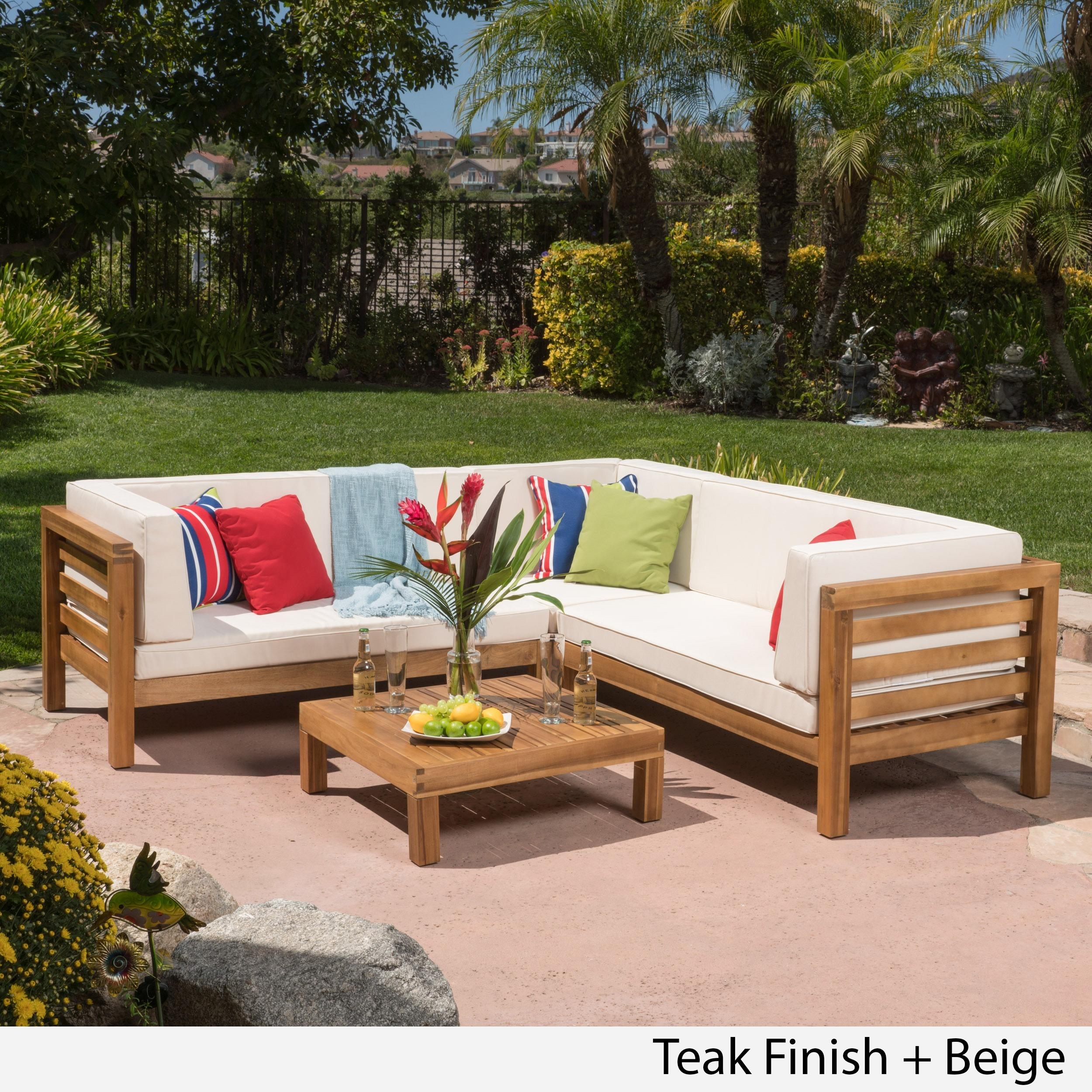 Oana Outdoor 4-Piece Acacia Wood Sectional Sofa Set with ... on Outdoor 4 Piece Sectional id=35398
