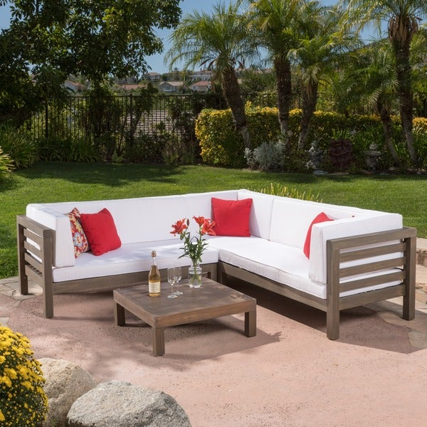 Oana Outdoor 4 Piece Acacia Wood Sectional Sofa Set With Cushions By  Christopher Knight Home   Free Shipping Today   Overstock.com   19657674