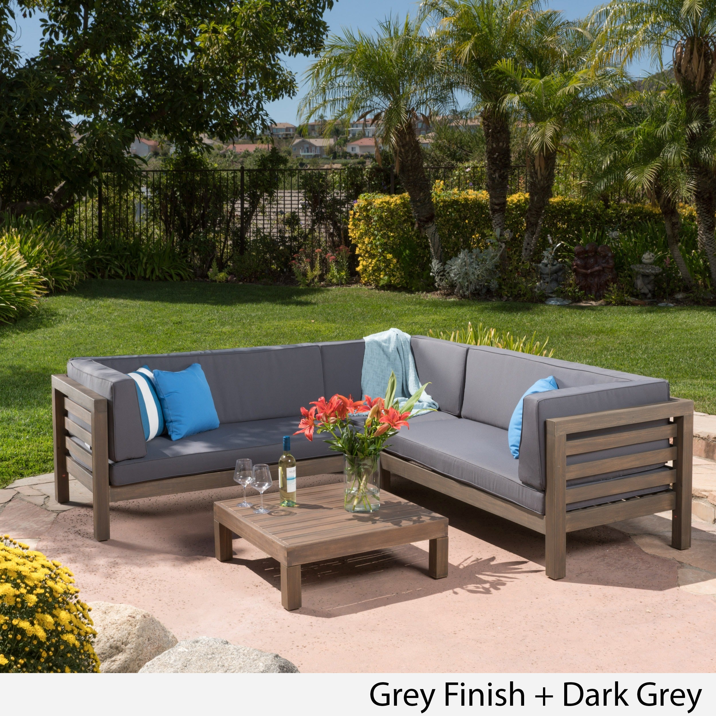 Outdoor Sectional Sofa Images: Oana Outdoor 4-Piece Acacia Wood Sectional Sofa Set With
