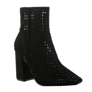 Cape Robbin FE93 Women's Cut-out Chunky Block Heel Ankle Booties
