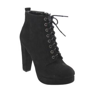 Bonnibel Women's GF27 Faux-suede Lace-up Inside-zipper Block-heel Platform Ankle Booties
