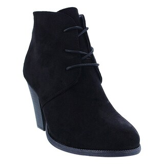 LILIANA GE36 Women's Tan/Black/Denim Faux Suede Lace-up Stacked Chunky Heel Ankle Booties