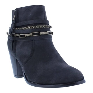 Liliana GD95 Women's Block Heel Zip-up Chain Deco Ankle-high Booties