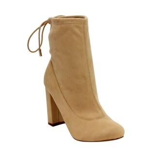 Liliana Women's GD51 Closed-toe Drawstring Chunky High-heel Casual Booties