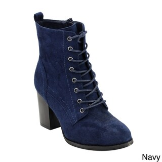 Beston GF08 Women's Faux Suede Lace-up Side-zip Block-high-heel Combat Ankle Booties (More options available)