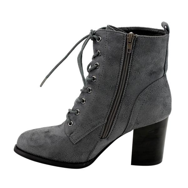 Classic Womens Faux Suede Lace Up Zipper Ankle Boots Ladies Pump Stiletto Shoes