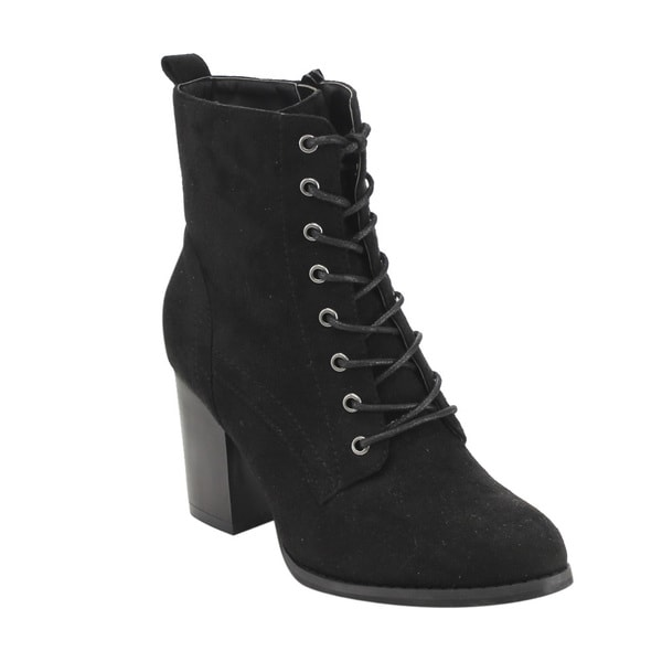 Beston GF08 Women's Faux Suede Lace-up Side-zip Block-high-heel Combat Ankle Booties