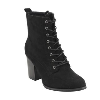 Beston GF08 Women's Faux Suede Lace-up Side-zip Block-high-heel Combat Ankle Booties (Option: 9)