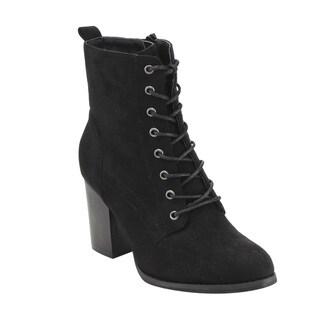 Beston GF08 Women's Faux Suede Lace-up Side-zip Block-high-heel Combat Ankle Booties